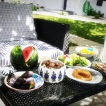 Garden breakfast at Aegean apartments