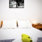 Double bed at Renes apartment on of our skyros apartments